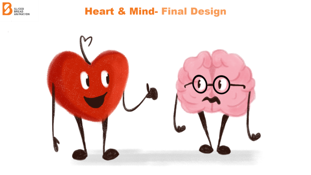 Mental Health Animation Heart And Brain Character Design Final - 2 Characters Standing